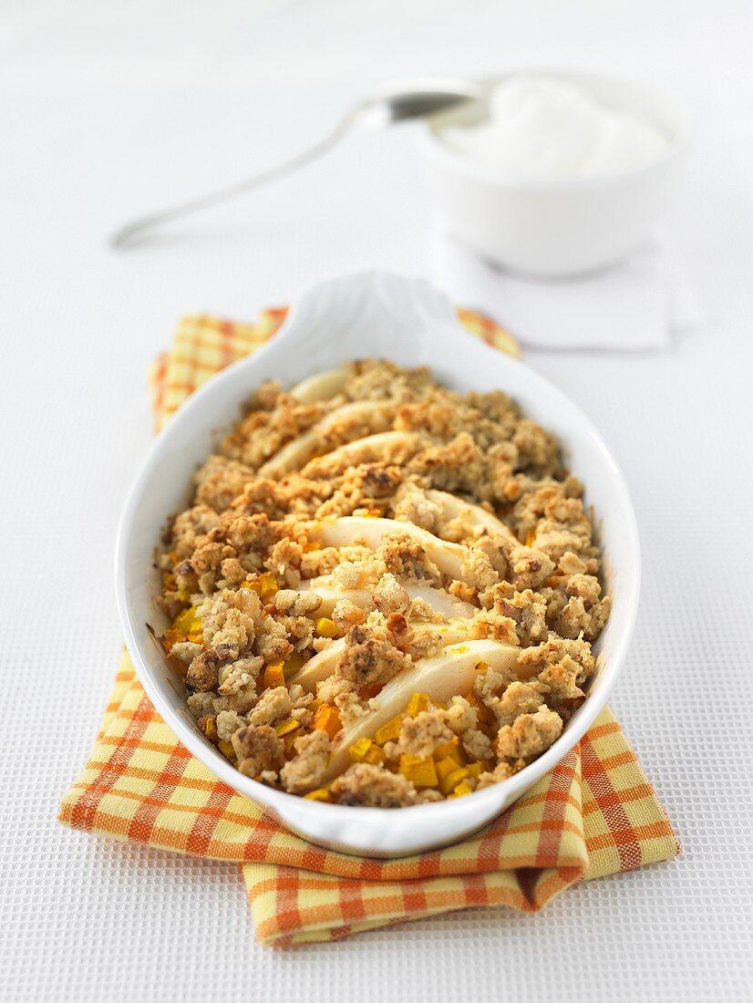 Pumpkin and pear crumble