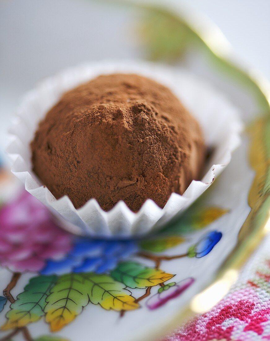 A chocolate truffle