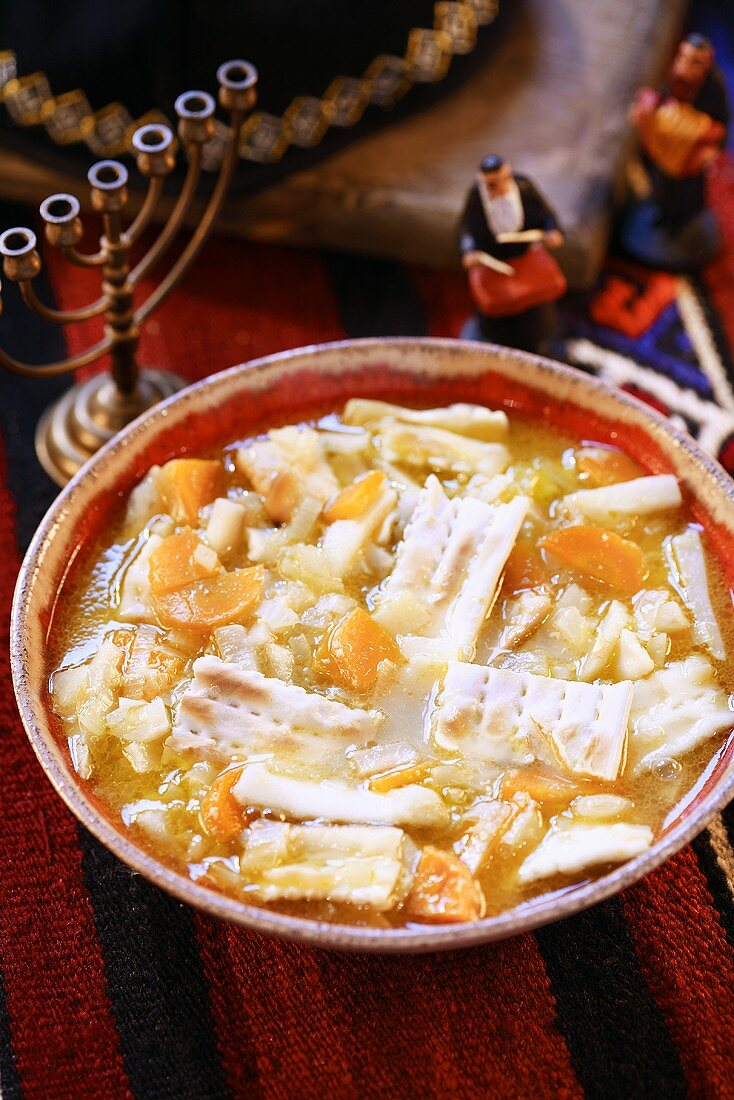 Jewish vegetable soup with matzos