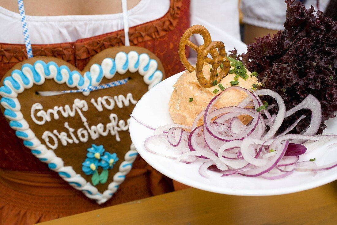 Obatzda (Camembert spread) with onion rings (Oktoberfest)