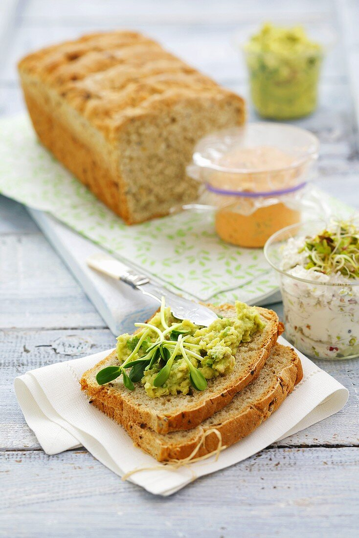 Bread with various spreads: avocado, pepper and cheese