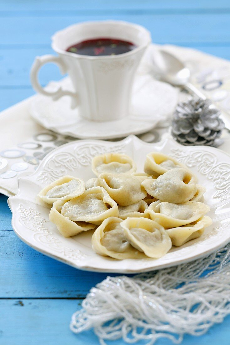 Uszka (Mushroom-filled dumplings to serve in borscht, Poland)