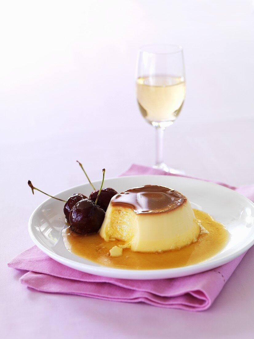 Crème caramel with cherries