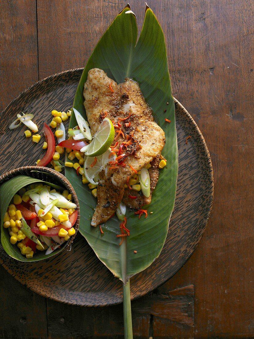 Cajun pangasius with sweetcorn salad