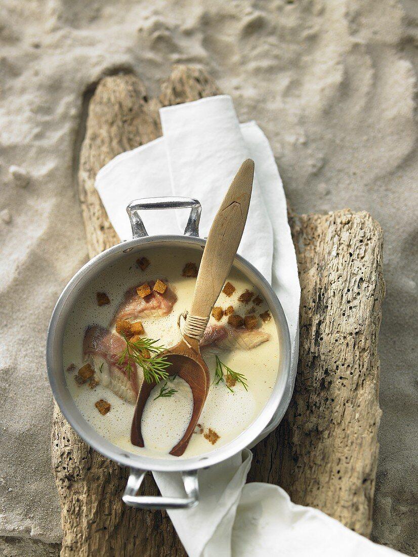 Smoked eel soup