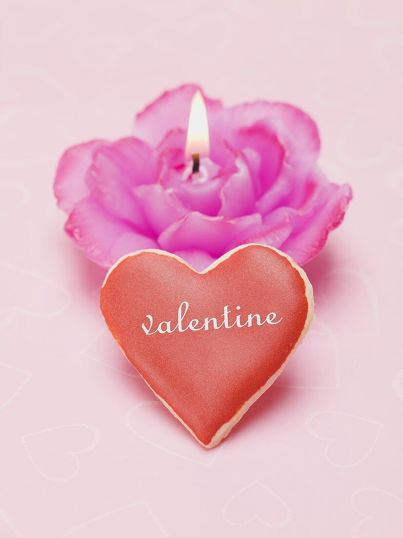 Valentine's Day biscuit, rose candle
