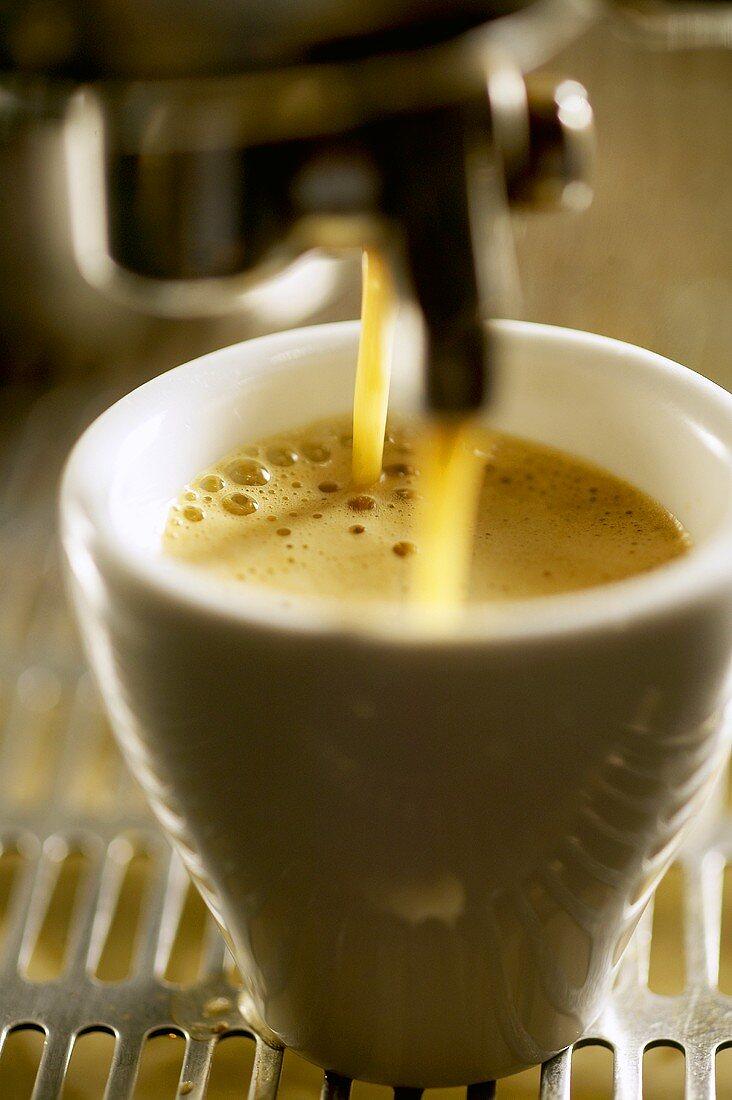 Espresso running out of an espresso machine