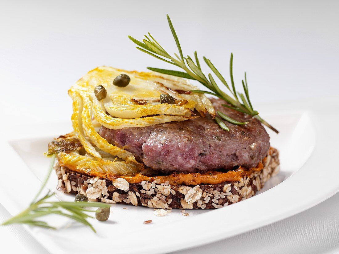 Salt marsh lamb burger and fennel on wholemeal bread