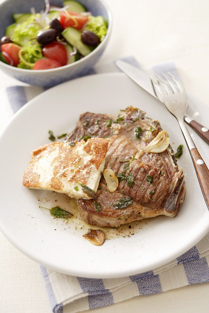 Pork neck chop with garlic and sage