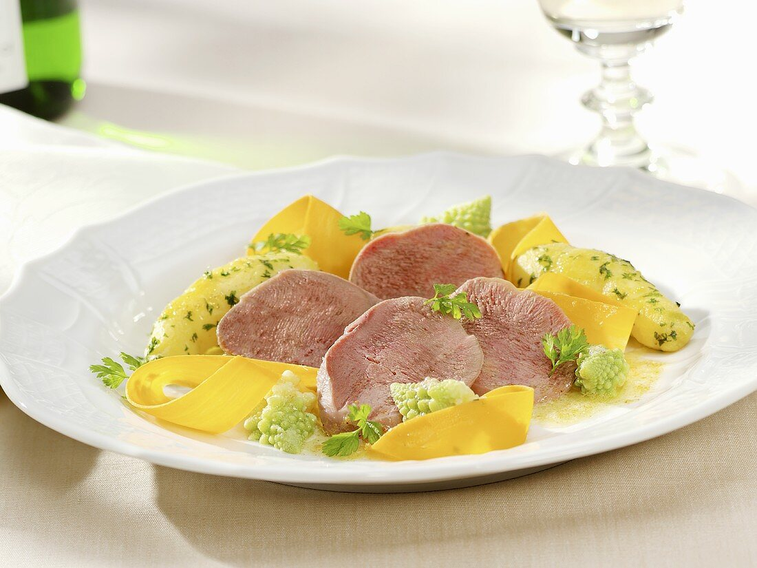 Cured tongue with parsley potatoes