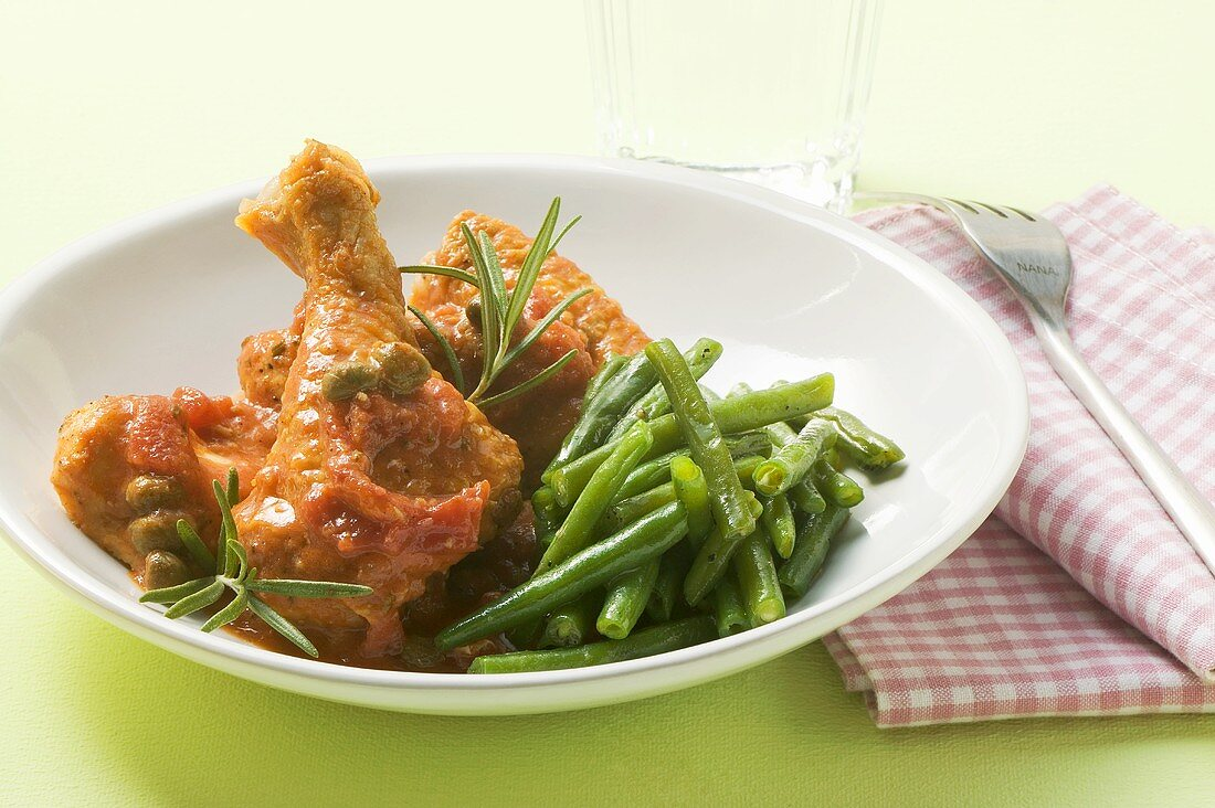 Gourmet chicken with beans