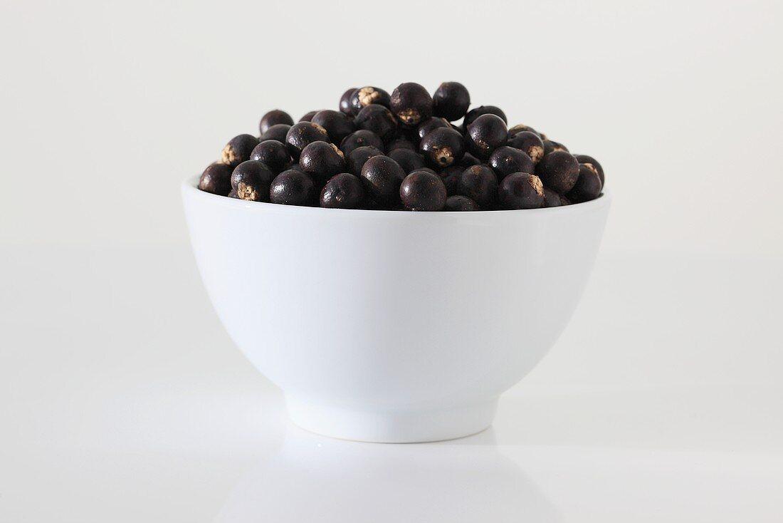 Acai berries (Euterpe oleracea) in a bowl