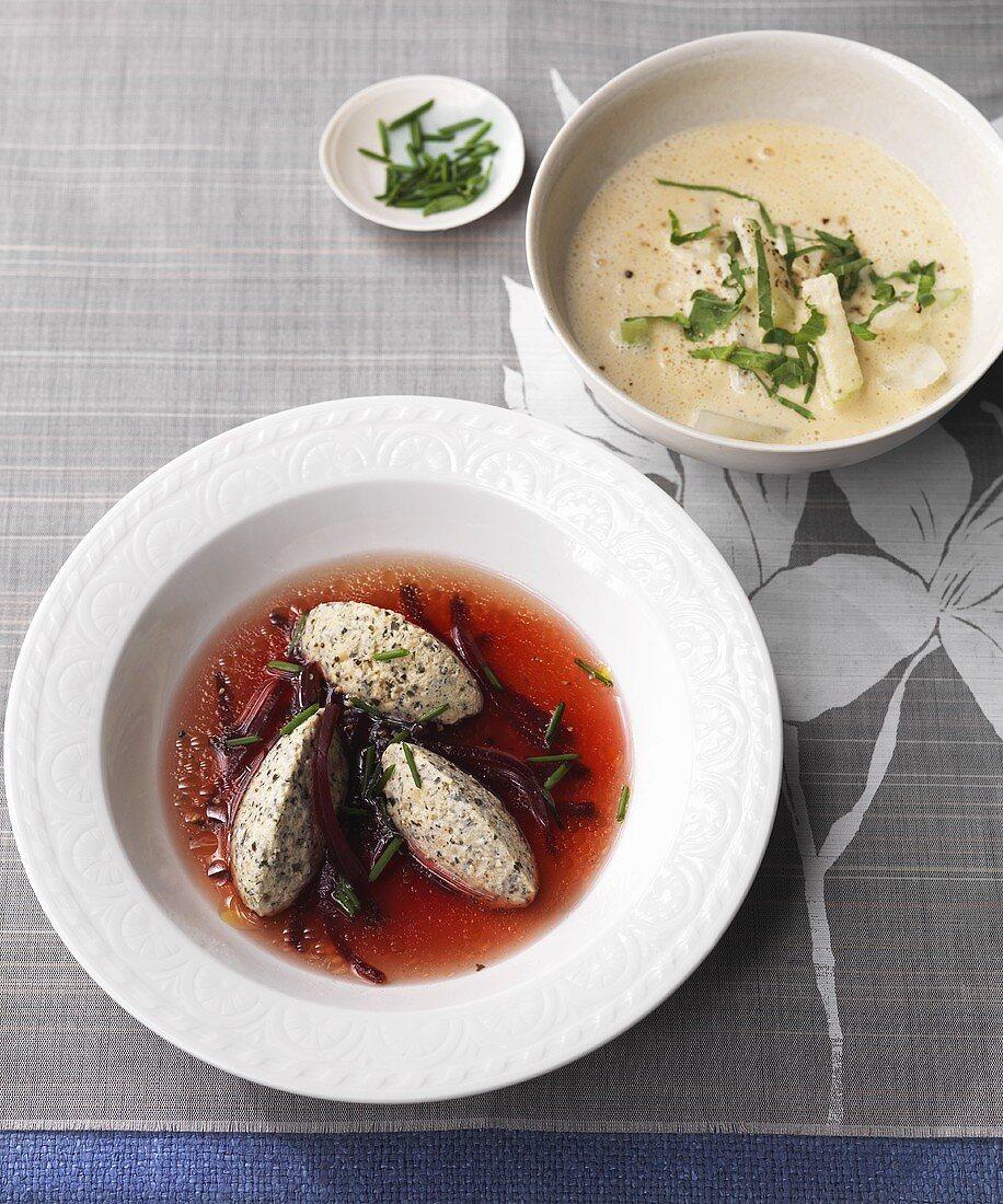 Creamy kohlrabi soup, beetroot bouillon with pumpkin seed quark dumplings