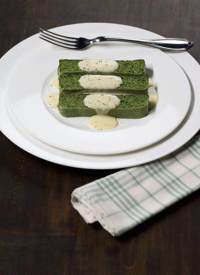 Sformato di spinaci (Spinach terrine with cheese sauce, Italy)