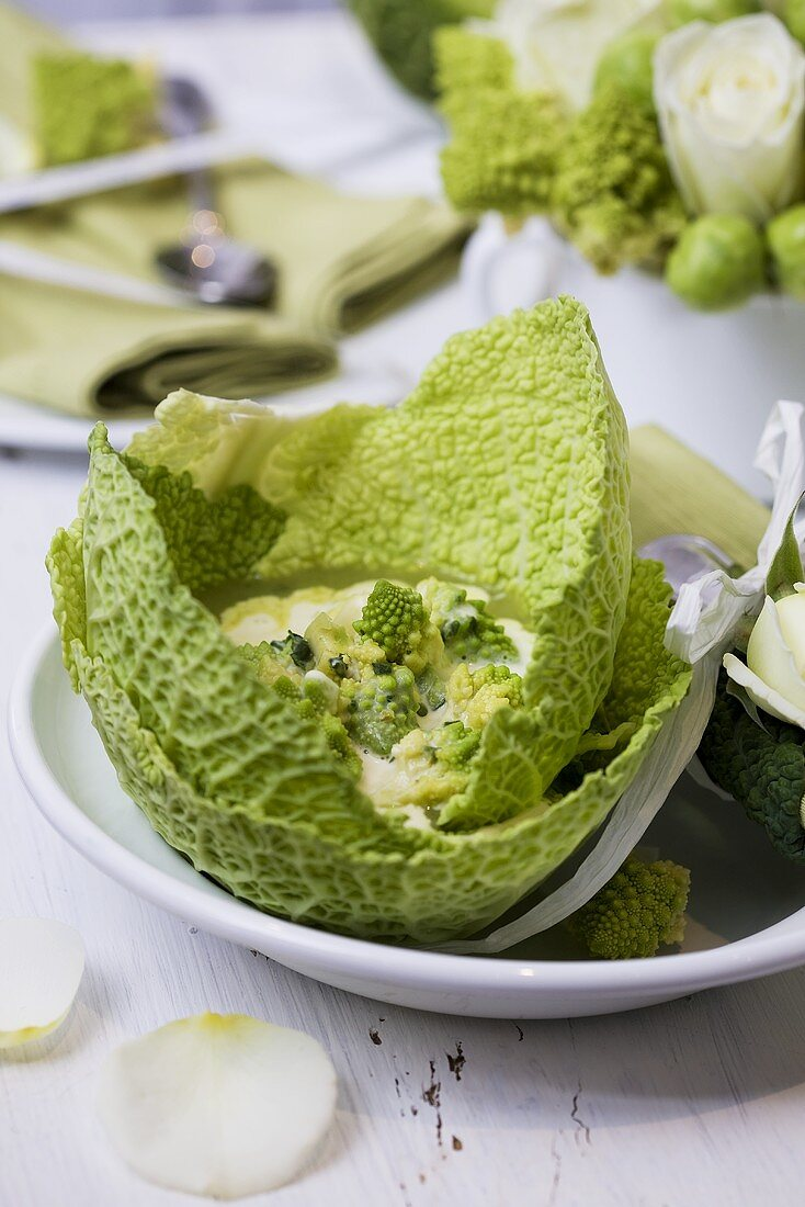 Romanesco soup served in savoy cabbage leaves