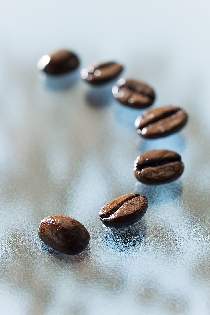 Seven roasted Arabica coffee beans on a glass slab