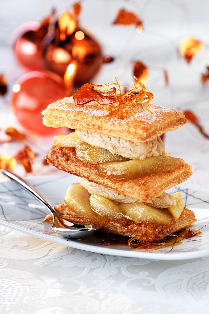 Millefeuille of puff pastry, caramelised apple, cinnamon ice cream