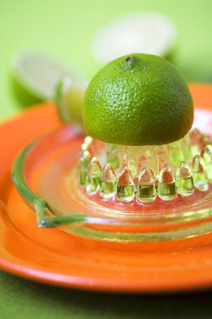 Lime on a lemon squeezer