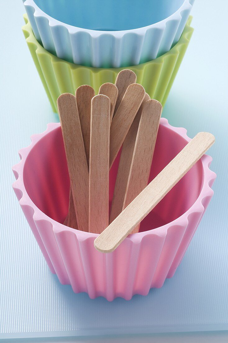 Small moulds with wooden sticks