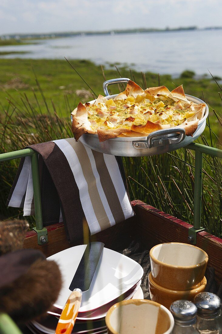 Savoy cabbage quiche in a cart for a picnic