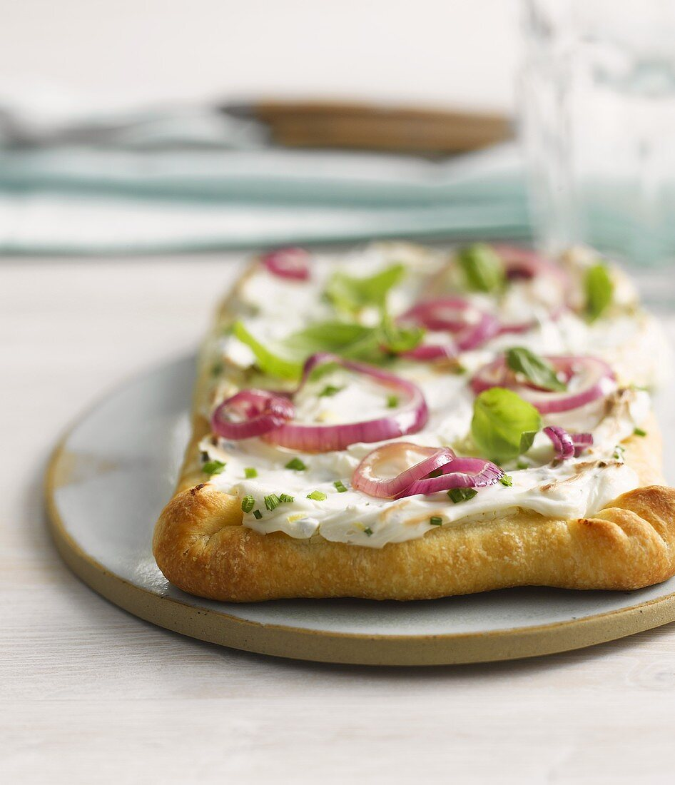 Pizza topped with soft cheese, onion rings and basil