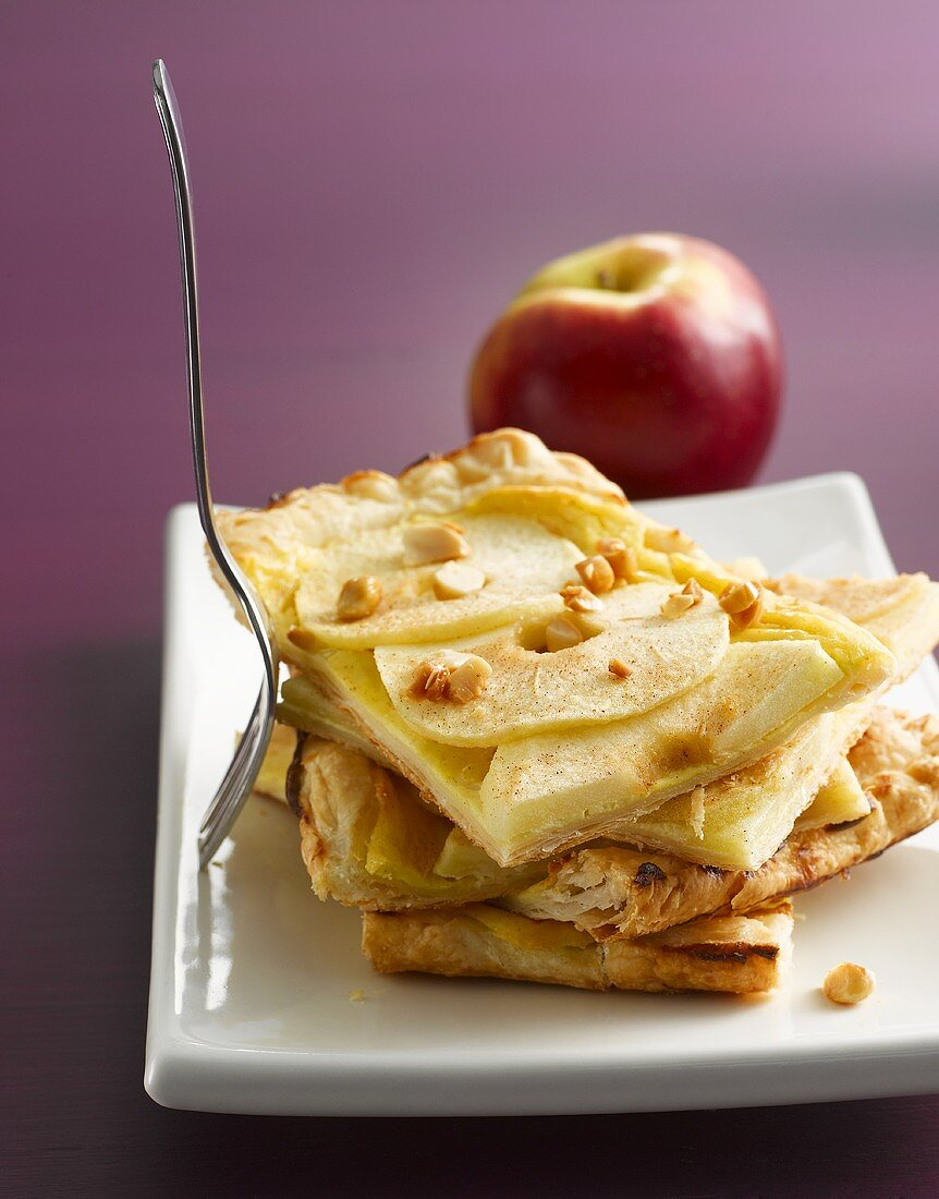 Pieces of apple puff pastry tart, stacked