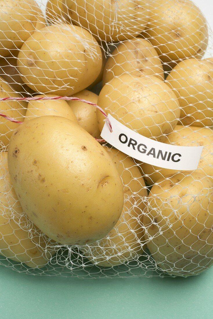 Organic potatoes in a net bag