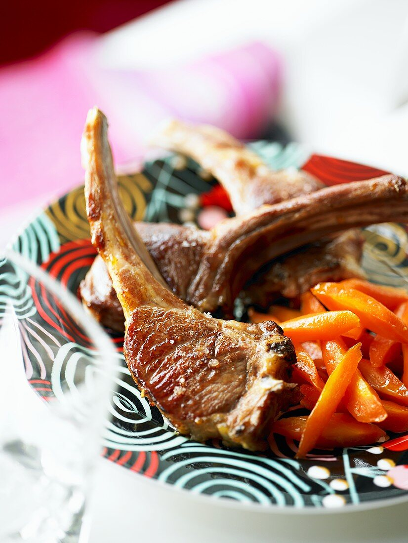 Fried lamb chops with carrots