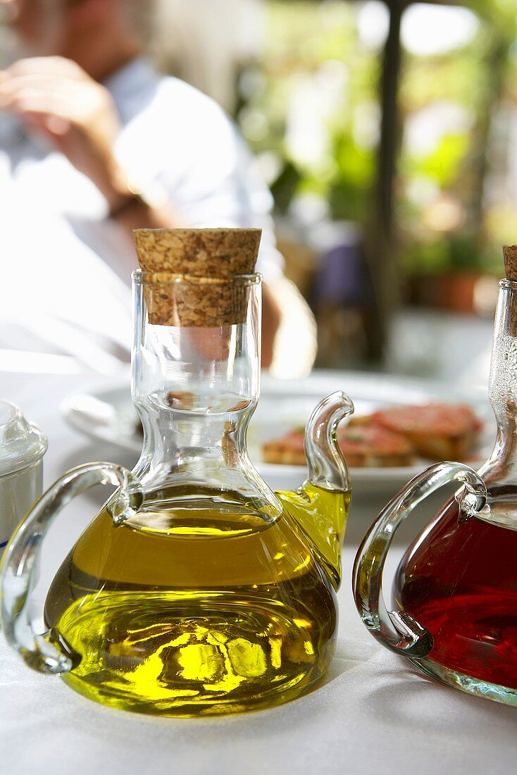 Olive oil and wine vinegar in carafes