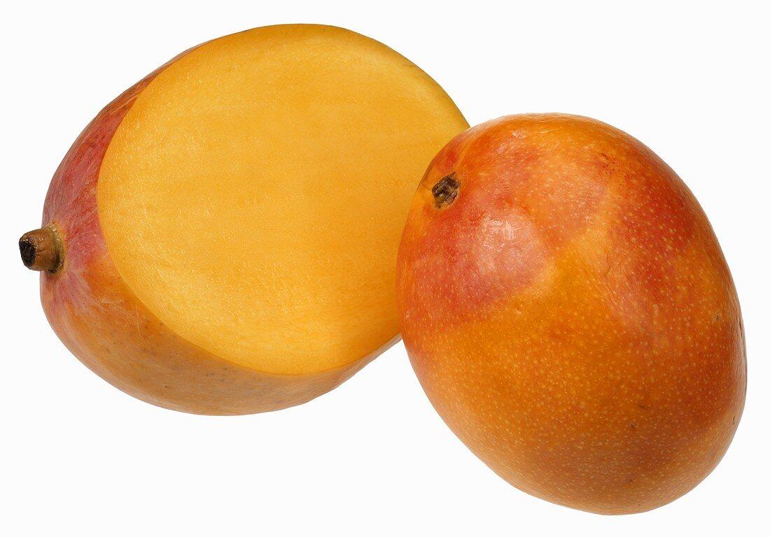 One whole mango and half a mango