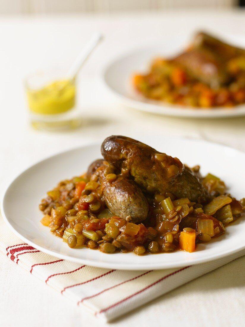 Sausages on lentils