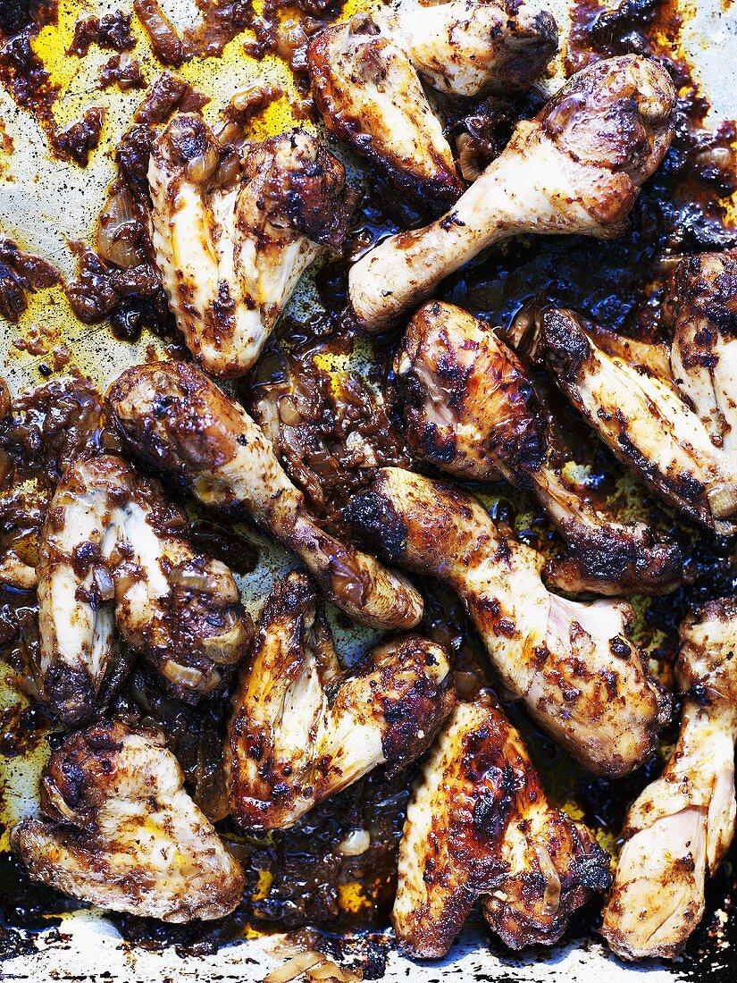 Jerk chicken (Grilled chicken legs, Jamaica)