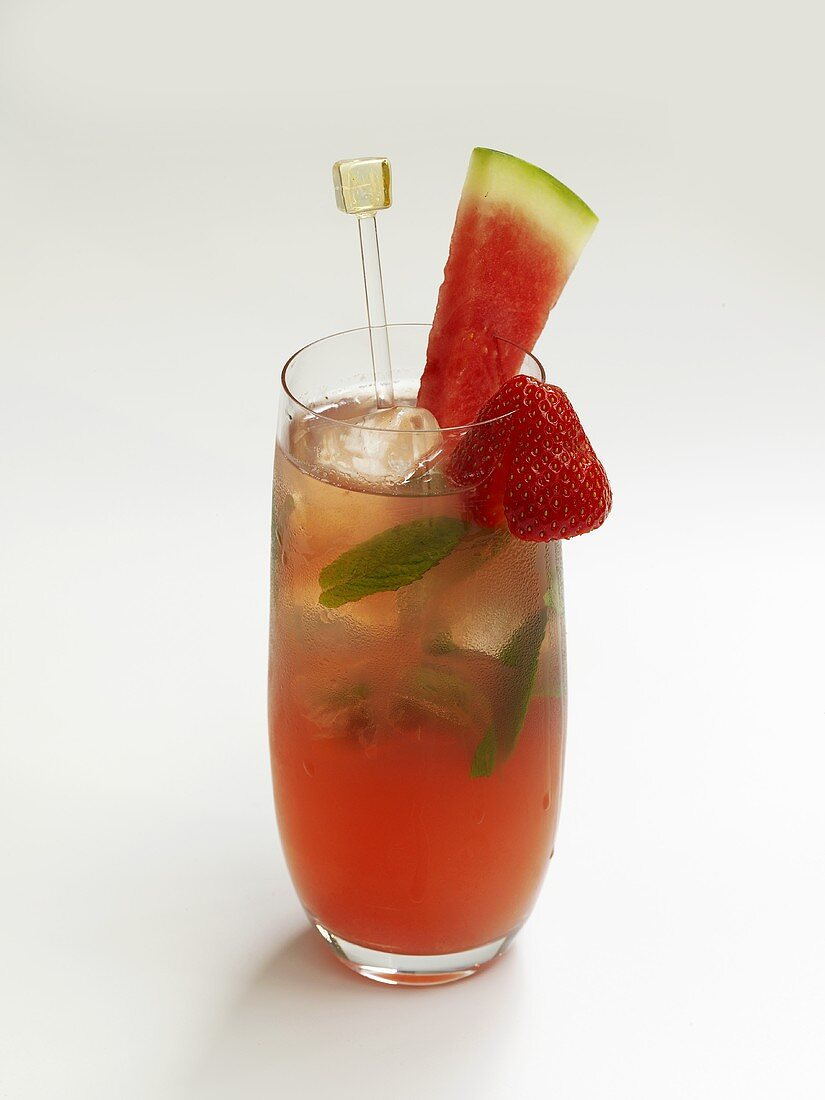 Fruit drink with watermelon and strawberries