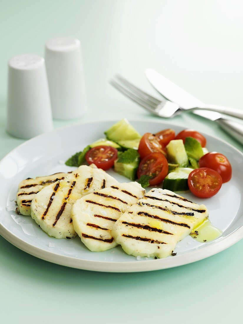 Grilled Halloumi with tomato and cucumber salad