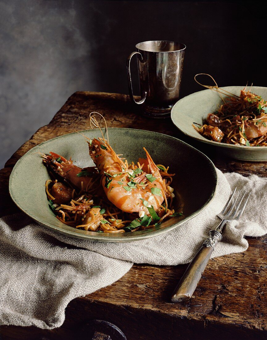 Catalan pasta paella with chorizo and giant prawns