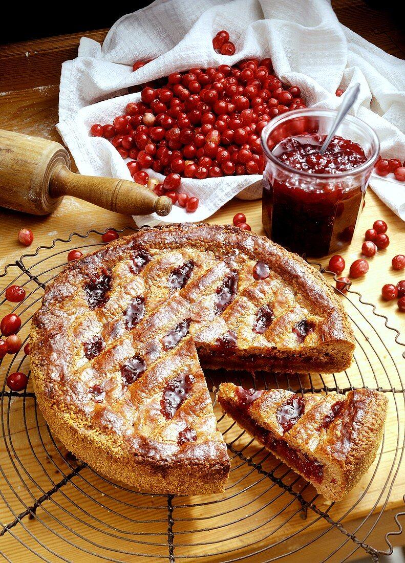 Linzer torte with cranberries