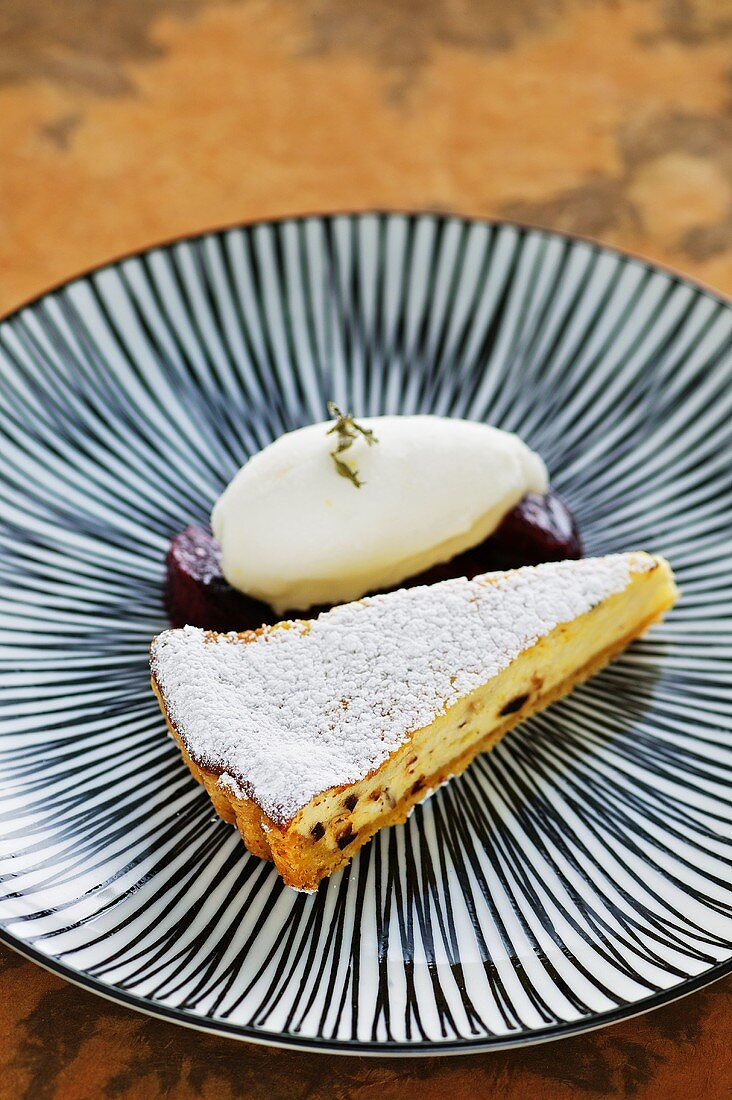 Cream cheese tart with glazed figs and thyme sorbet