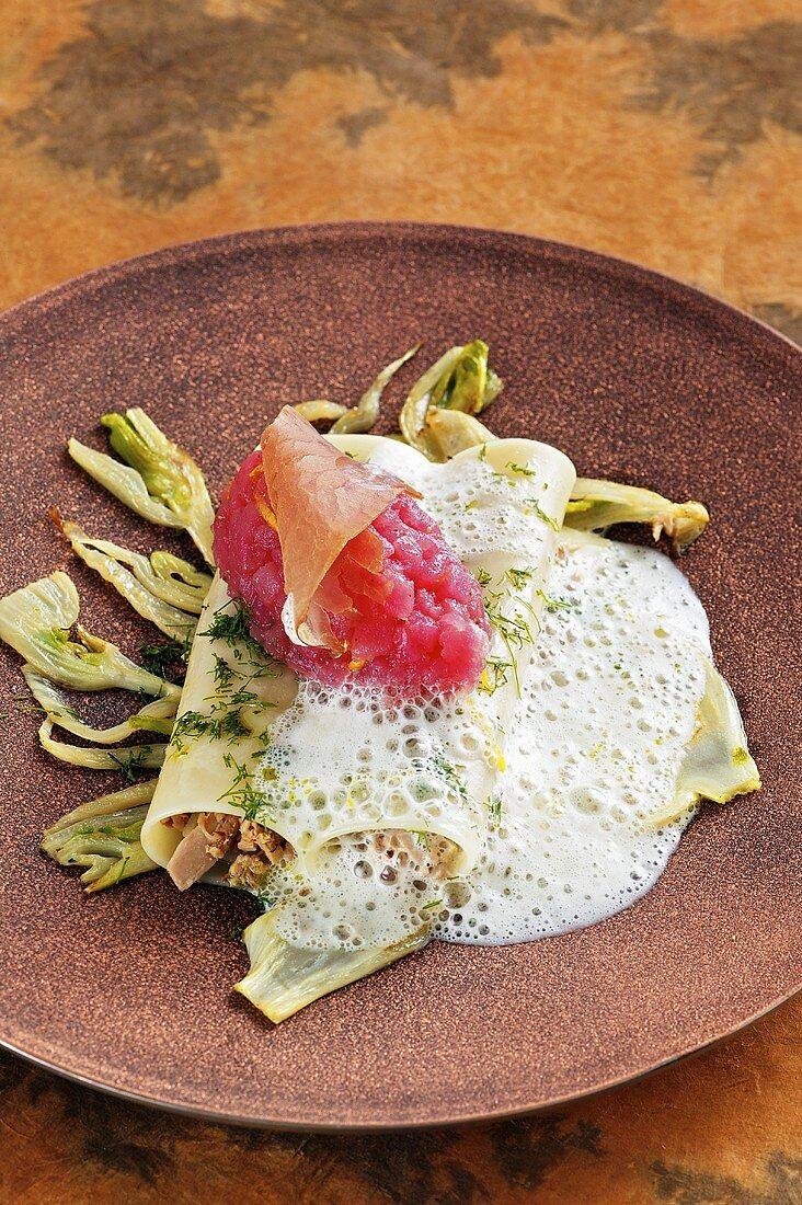 Tuna fish variations on roast fennel (dried, smoked, tatar, canneloni with bonito cream)