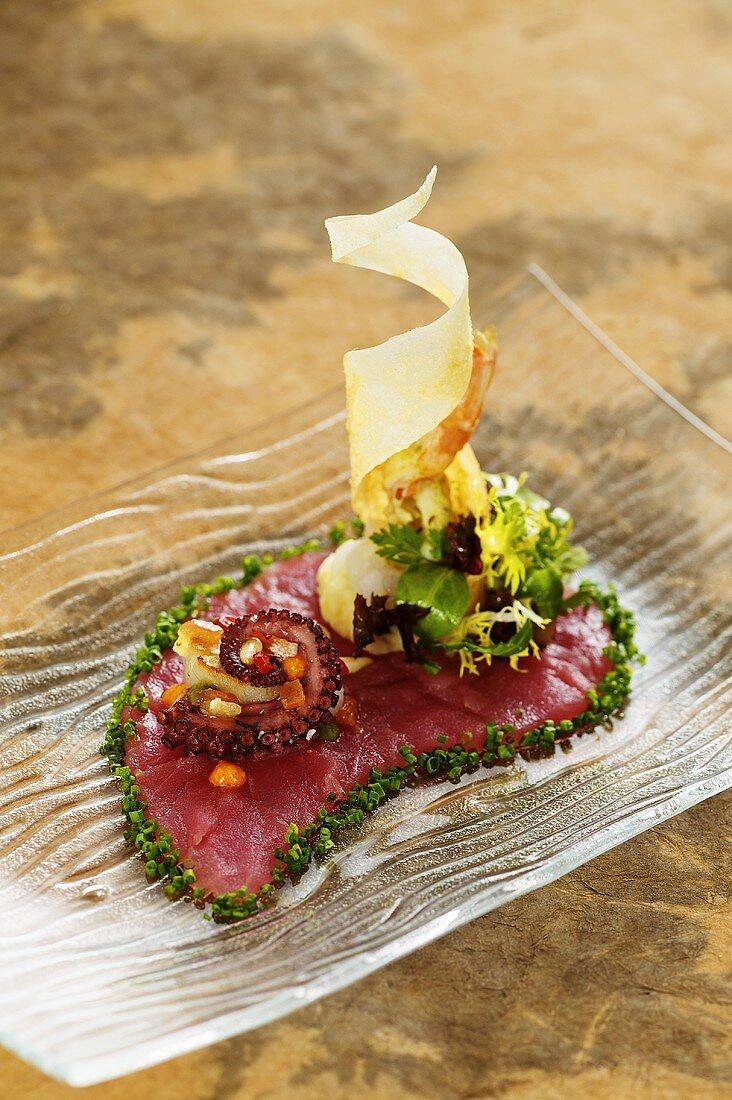 Tuna carpaccio with scallops and octopus