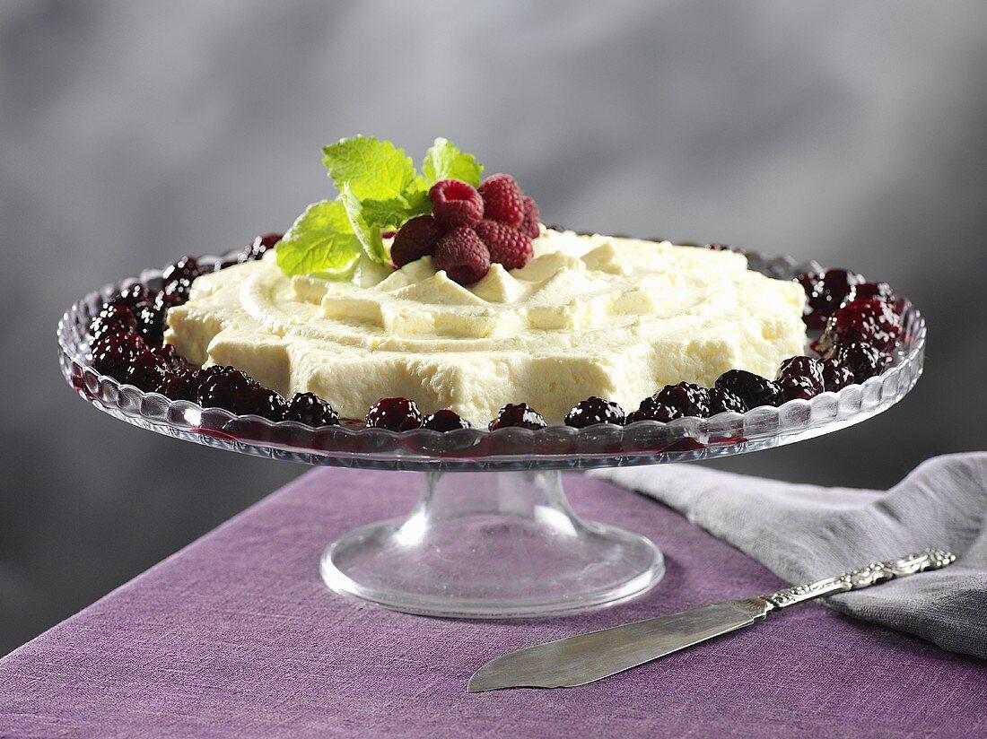 Äggost (egg quark, Sweden) with berries