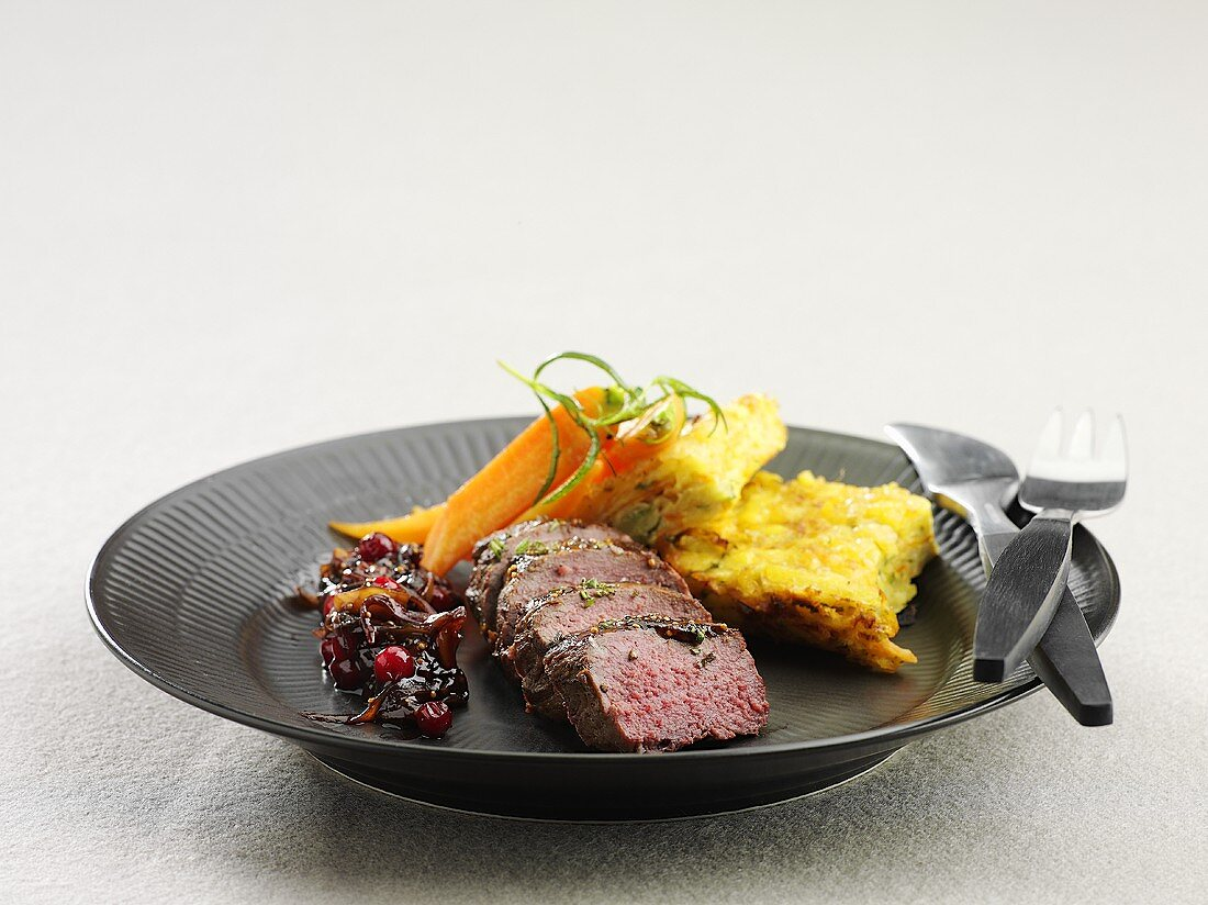 Reindeer fillet with lingonberry chutney