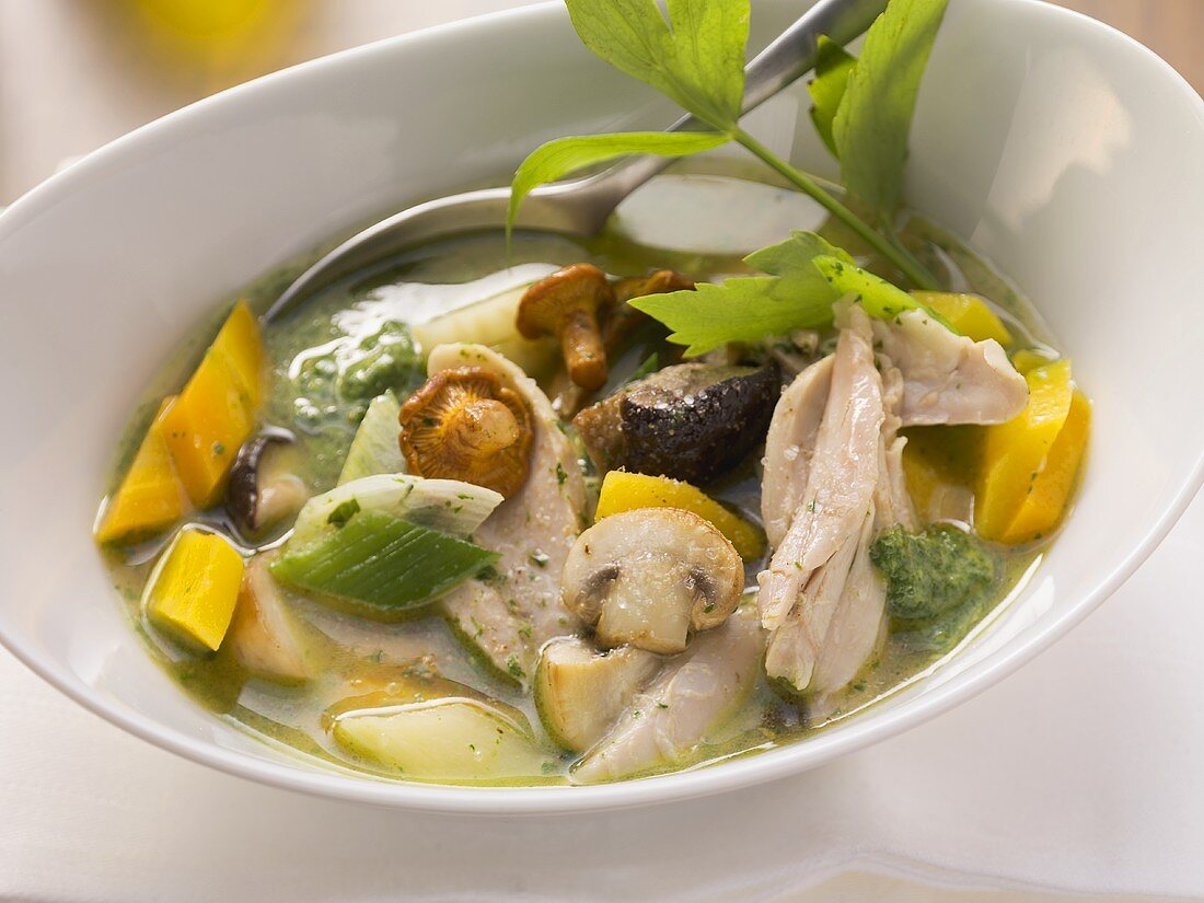 Chicken stew with vegetables, mushrooms and lovage