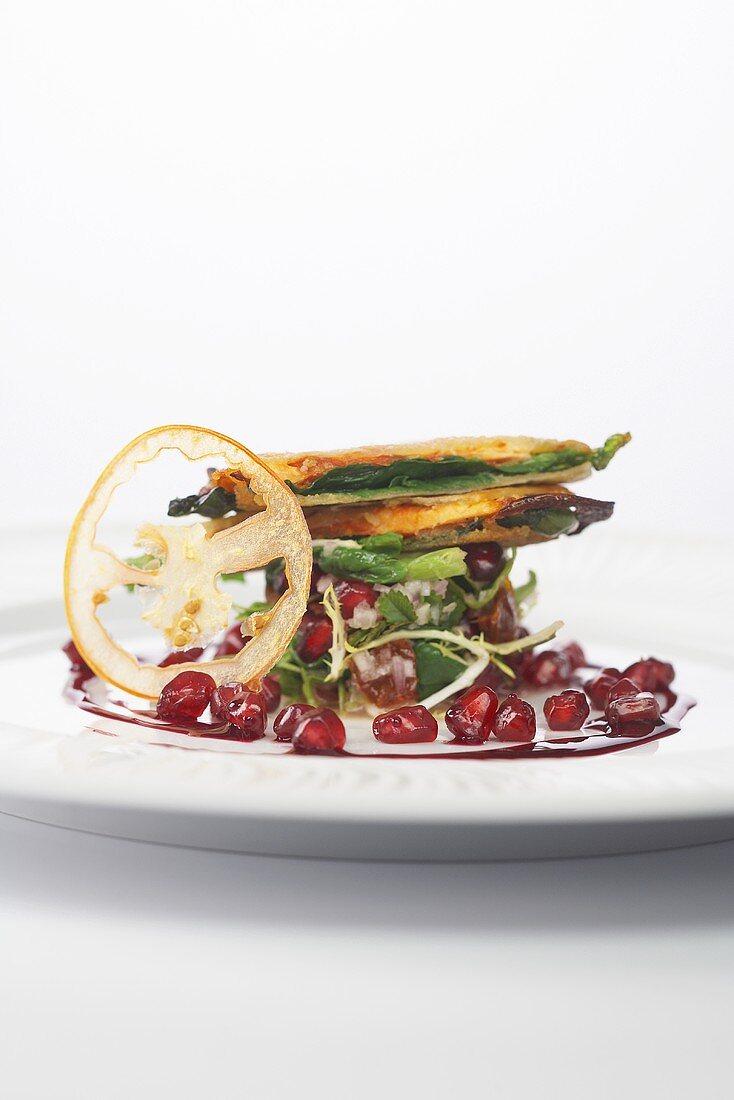 Brook char, tomato, pomegrante and lamb's lettuce sandwich