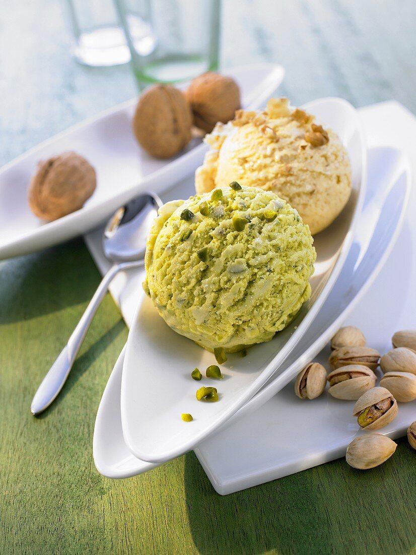 Pistachio ice cream and walnuts