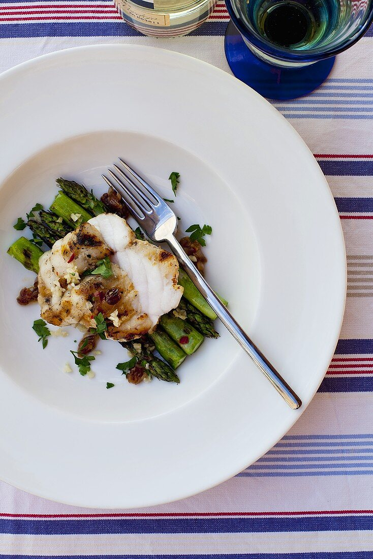 Monk fish with green asparagus