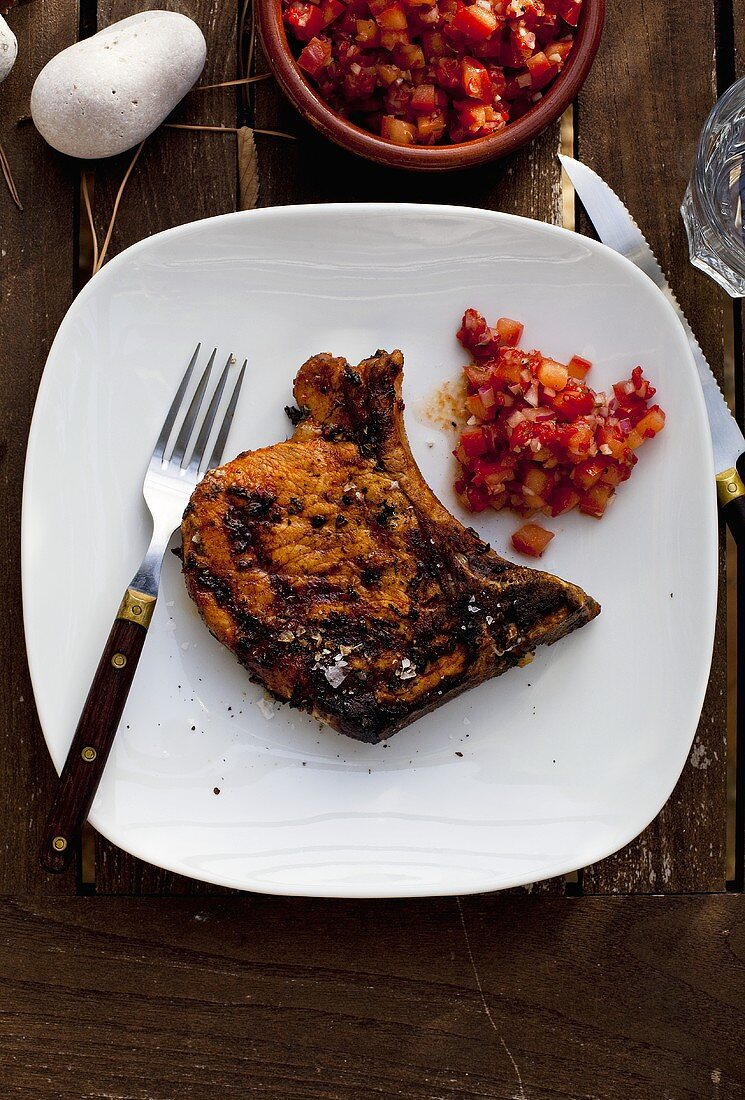 Pork Chop with Fresh Salsa