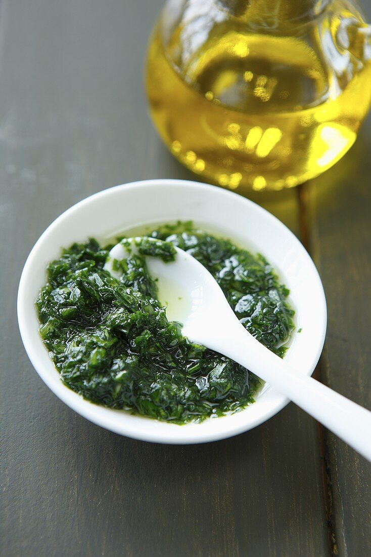 Ransom pesto and olive oil