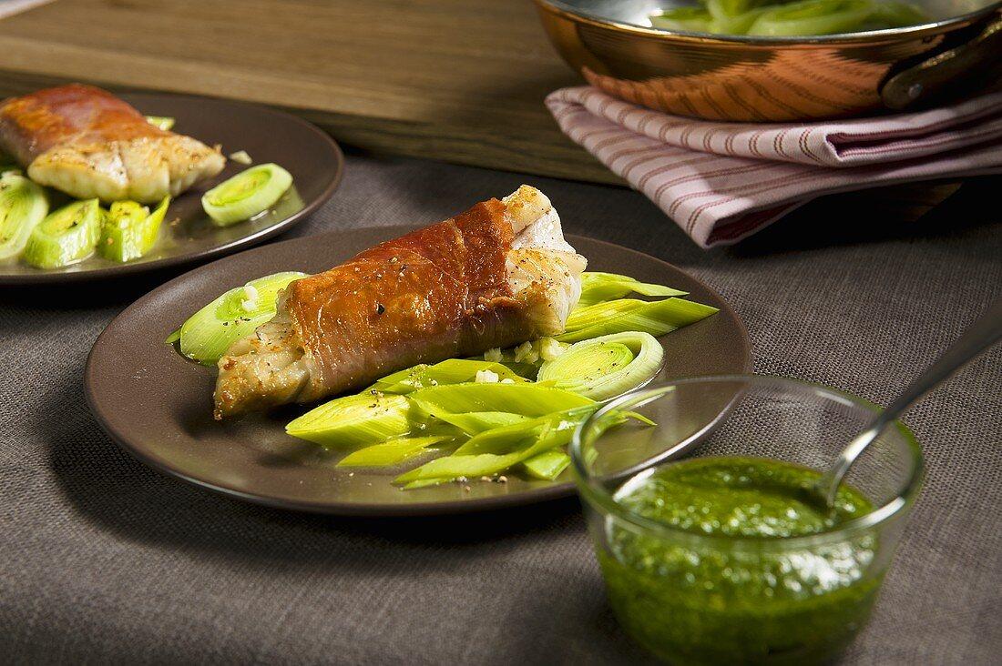Merluzzo al prosciutto (coalfish wrapped in ham)