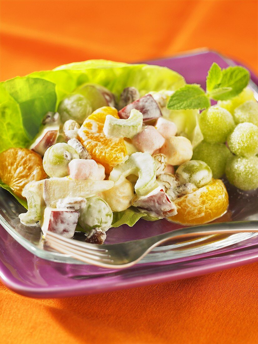Grape salad with marshmallows and celery