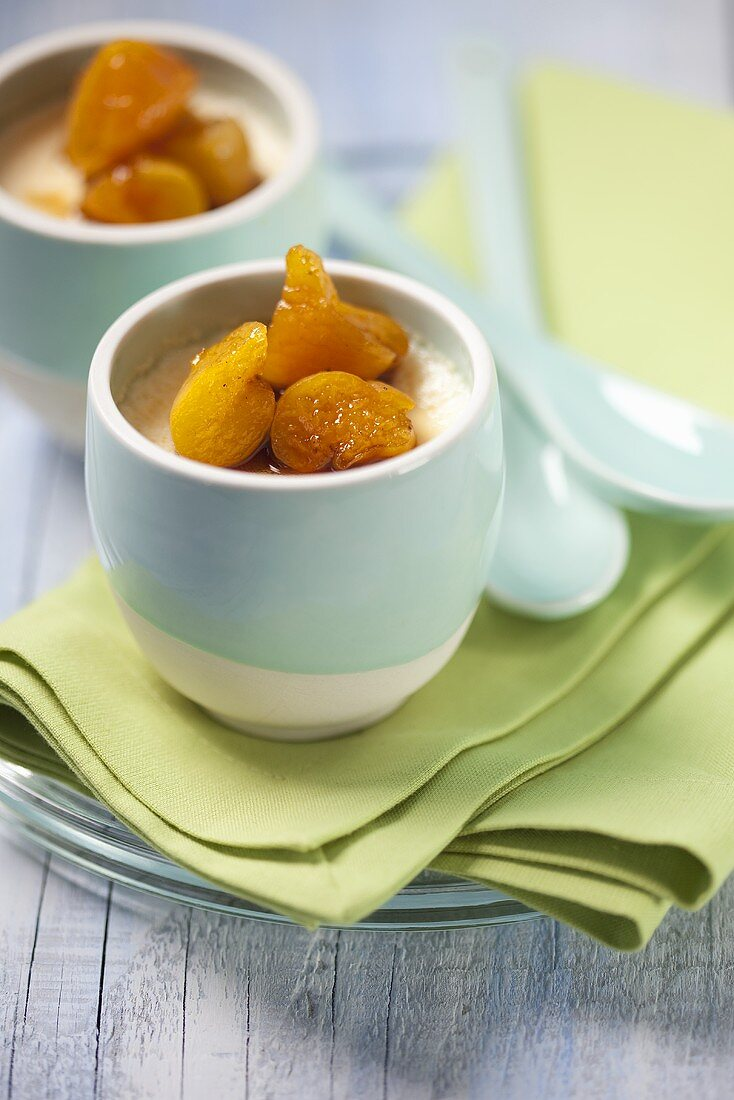 Almond milk flan with apricots